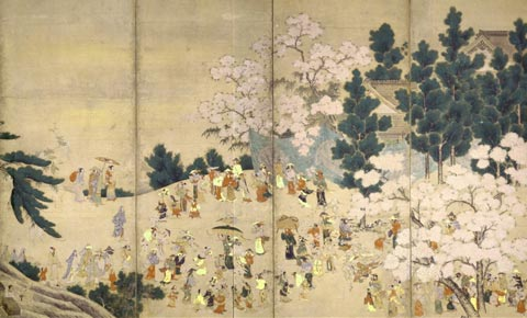 Japanese paintings showing hanami`s history
